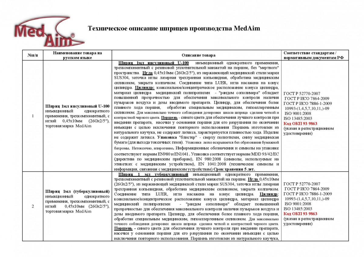 "Шприц 1 мл инсулиновый U-100 с иглой 0,45х10 мм (26Gx2/5"")"