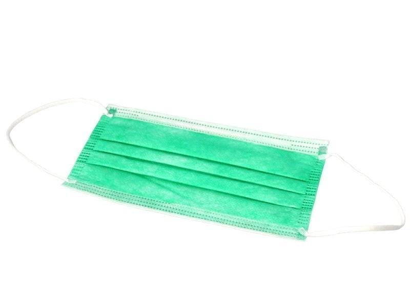 Маски медицинские 3-слойные с носовым фиксатором в п/э (зелёный)