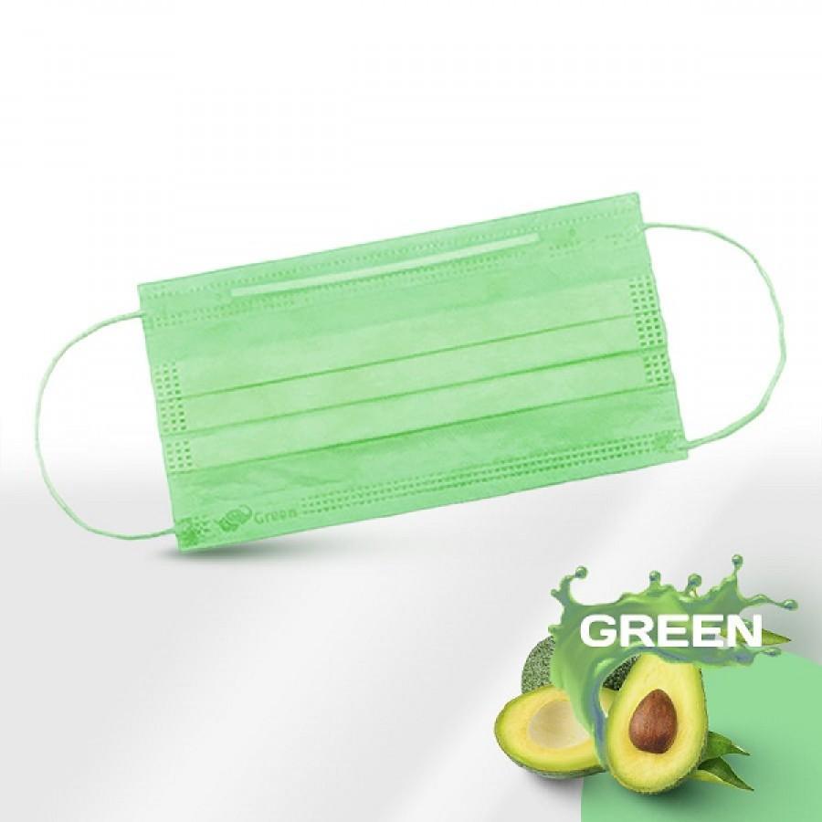 Маски медицинские 3-слойные с носовым фиксатором в картонном блоке (зелёный)
