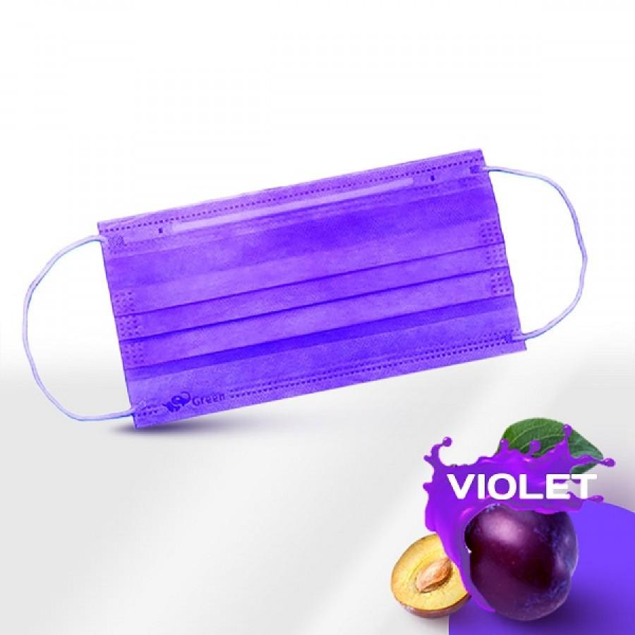 Маски медицинские 3-слойные с носовым фиксатором в п/э Фиолетовая