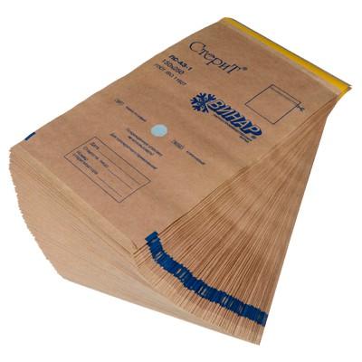 Пакеты из крафт-бумаги самоклеящиеся с индикатором 150*250 мм